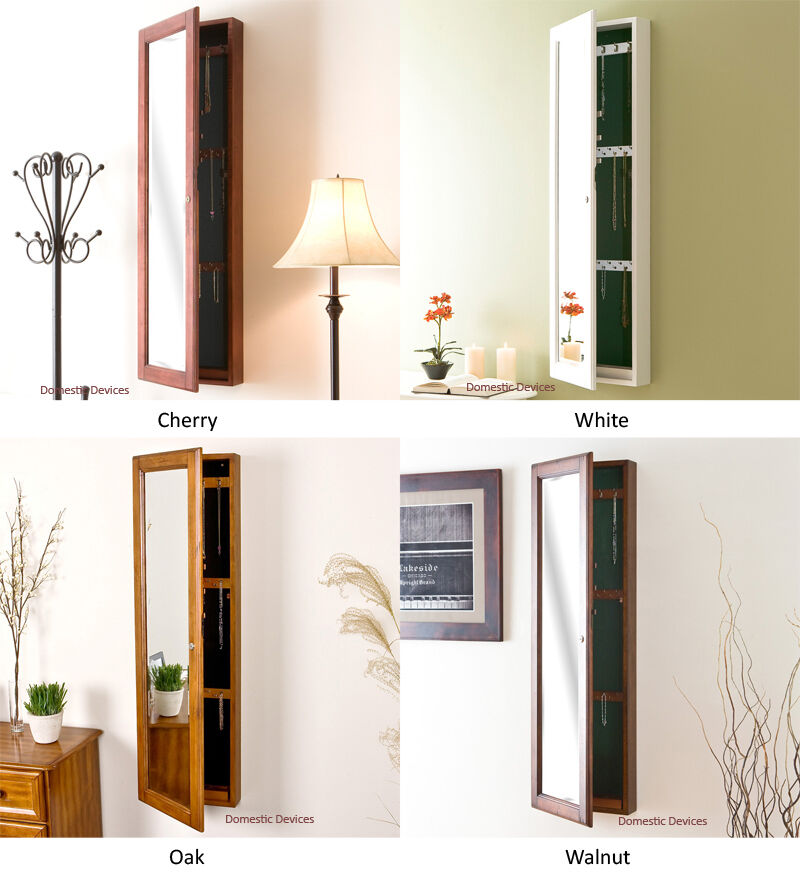 Decorative Wall Mirror Jewelry Organizer : Solid wood jewelry armoire mirror wall mount locking