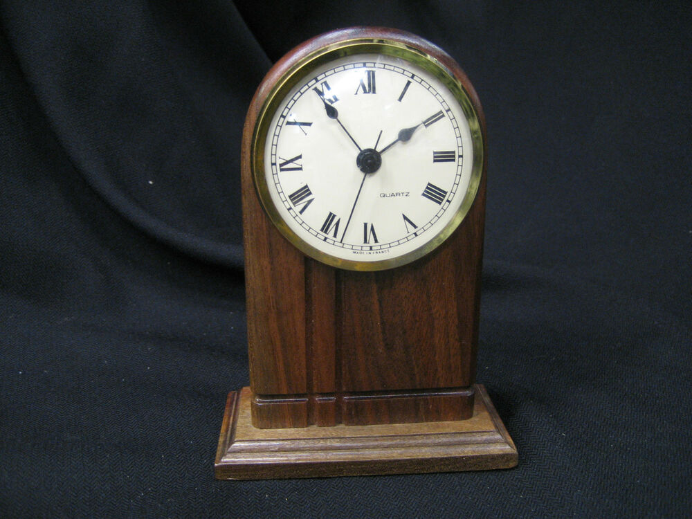 Wooden Clock Hand Made Battery Quartz Dark Wood 6 Inches