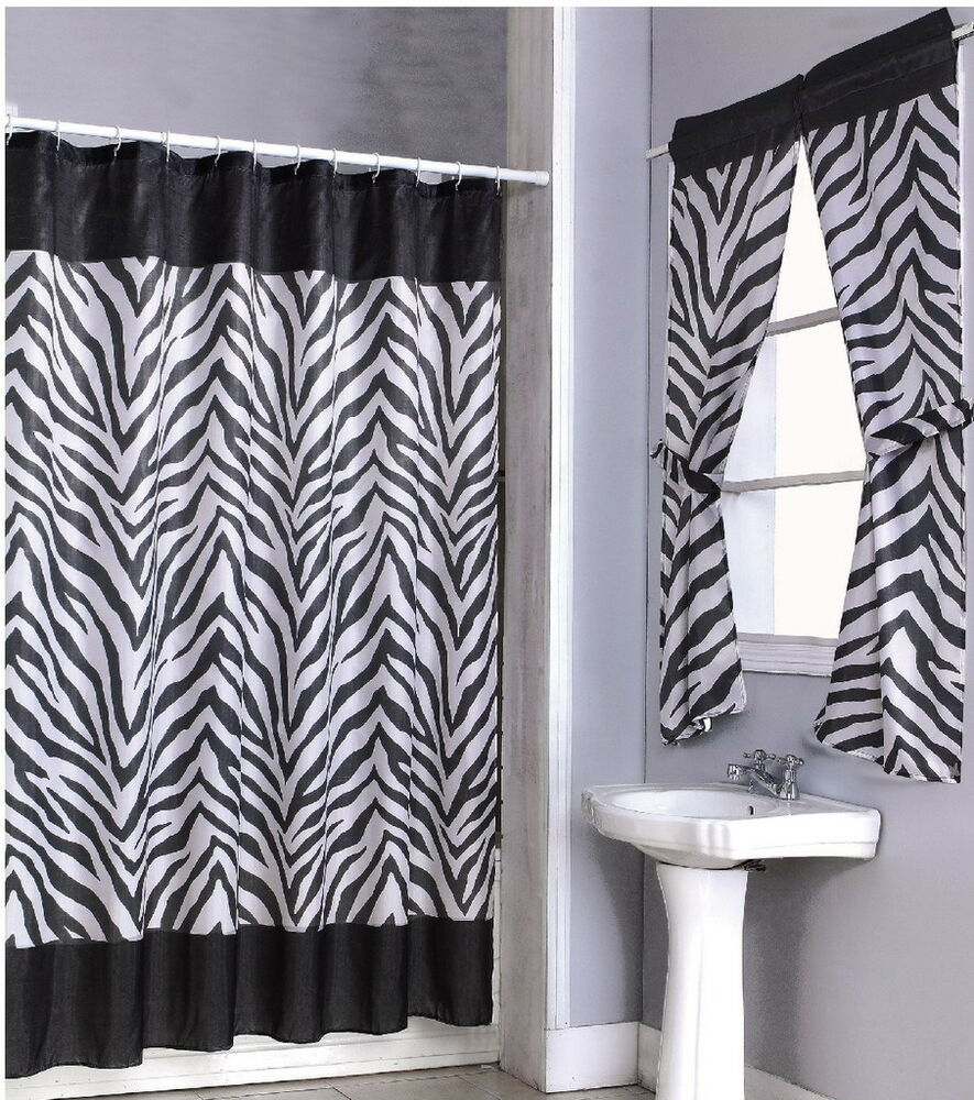 Zebra Pattern Shower Curtain And Window Set W Liner Rings