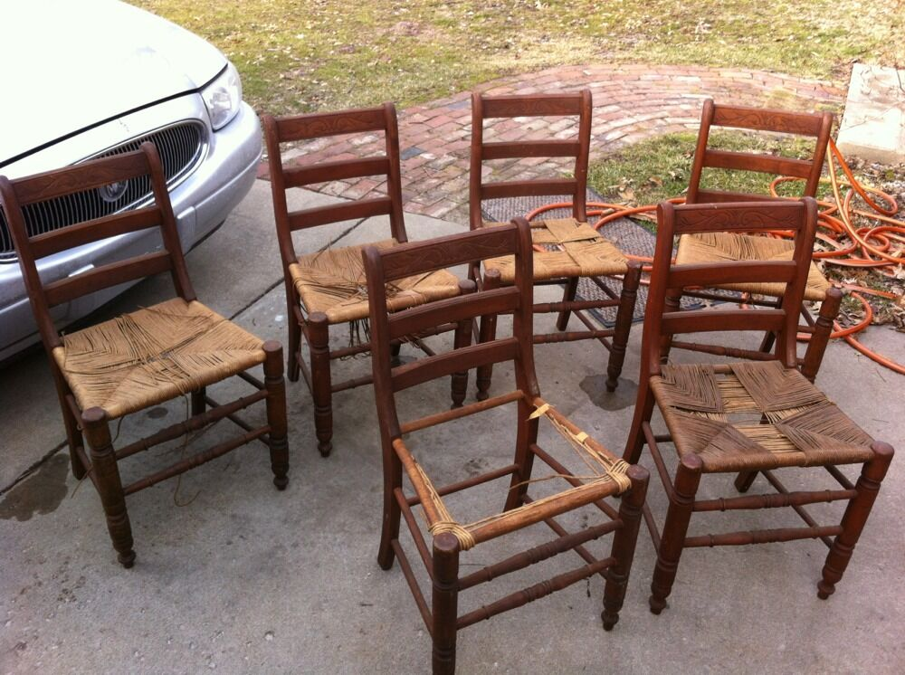 Antique Log Cabin Style Rush Seat Chairs Set of 6