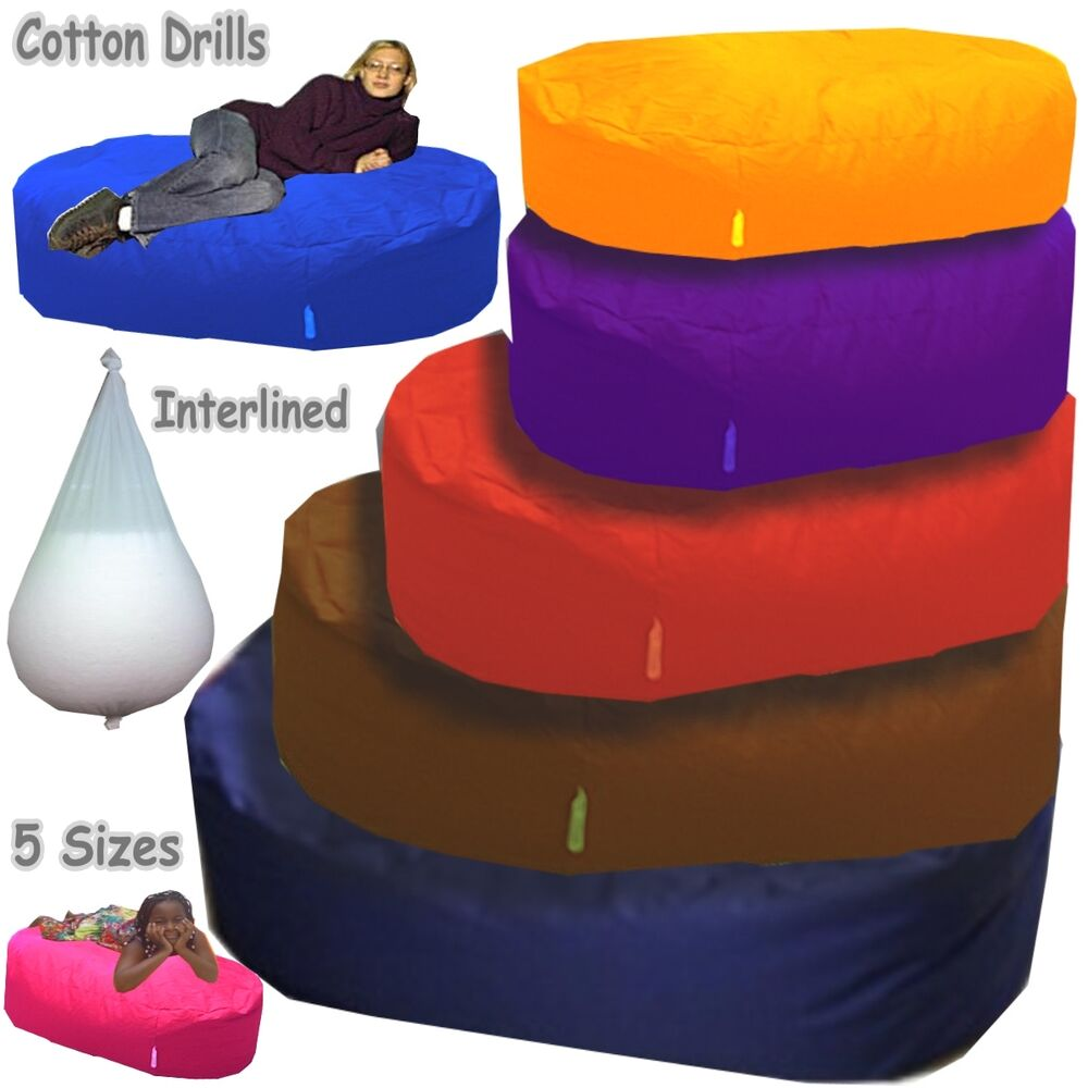 large cotton beanbag bed ottoman giant sofa bean bags netting lined kids adults ebay. Black Bedroom Furniture Sets. Home Design Ideas