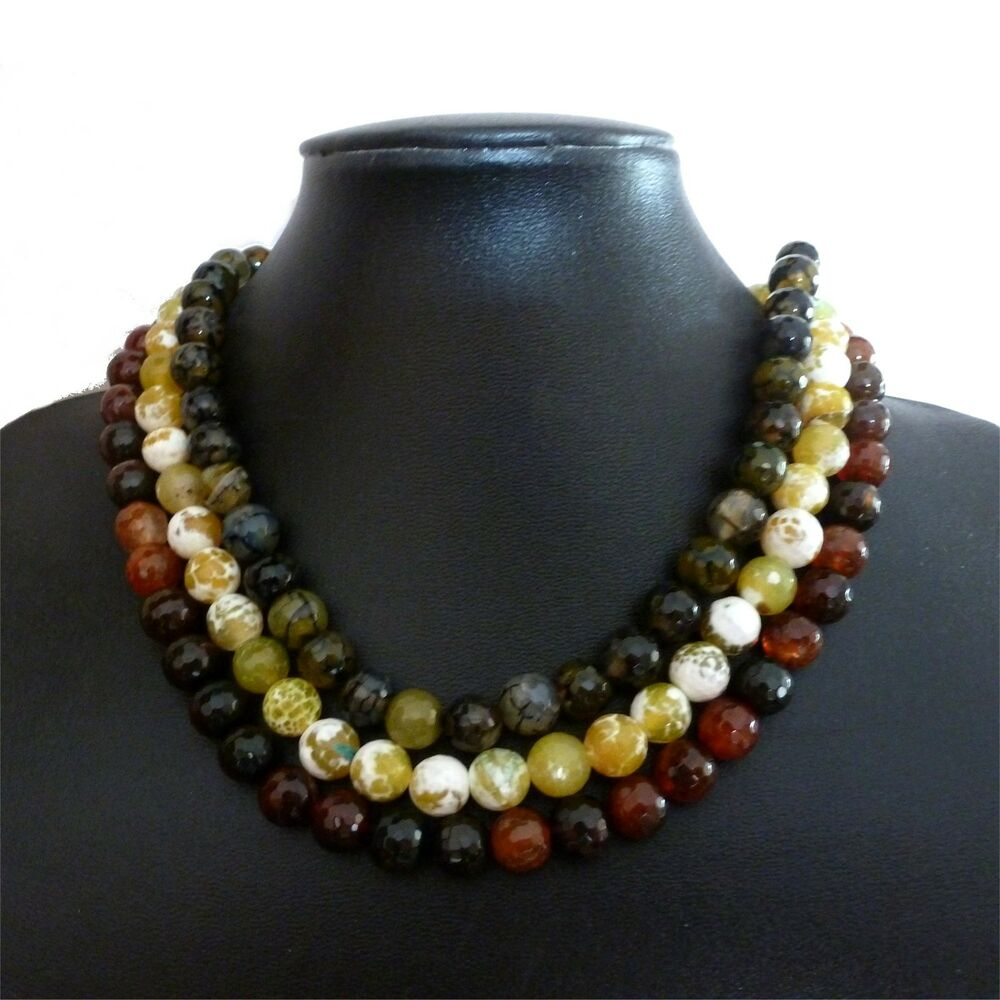 Faceted agate bead necklace bracelet earrings set red for Red black and green jewelry