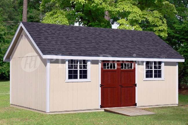 Garage With Storage Free Materials List: Backyard Storage Shed Plans 14' X 24' Gable Roof #D1424G