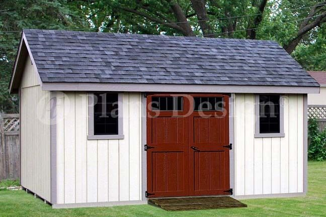 14 x 16 Storage Shed Plans Reverse Gable Roof D1416G