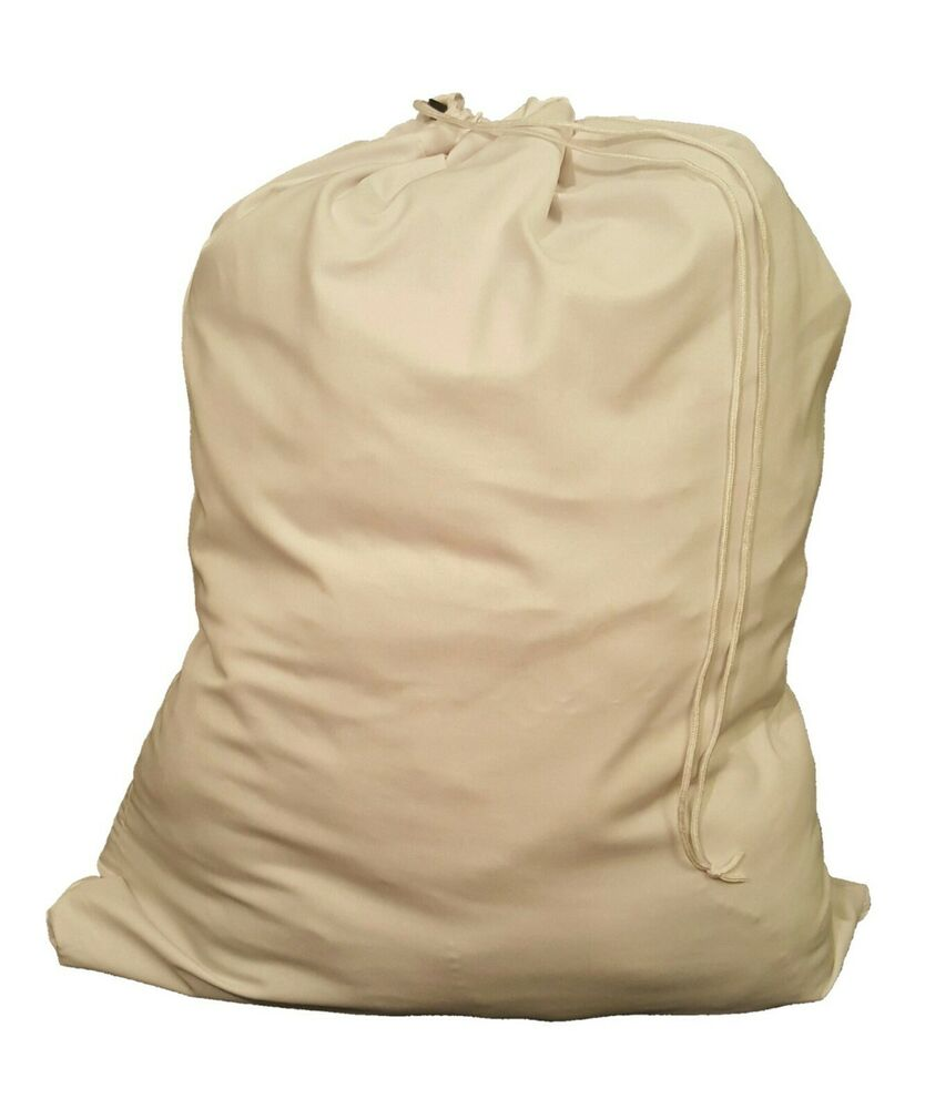 White Heavy Duty 30x40 Canvas Style Laundry Bag Made