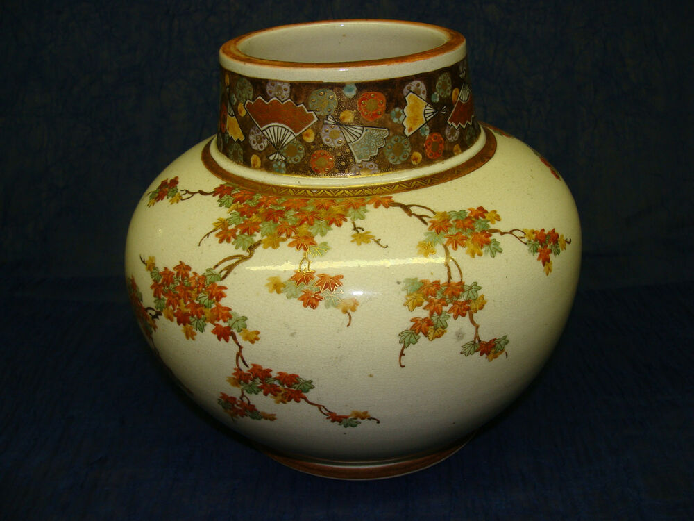Antique Japanese Meiji Satsuma Squat Vase Ebay