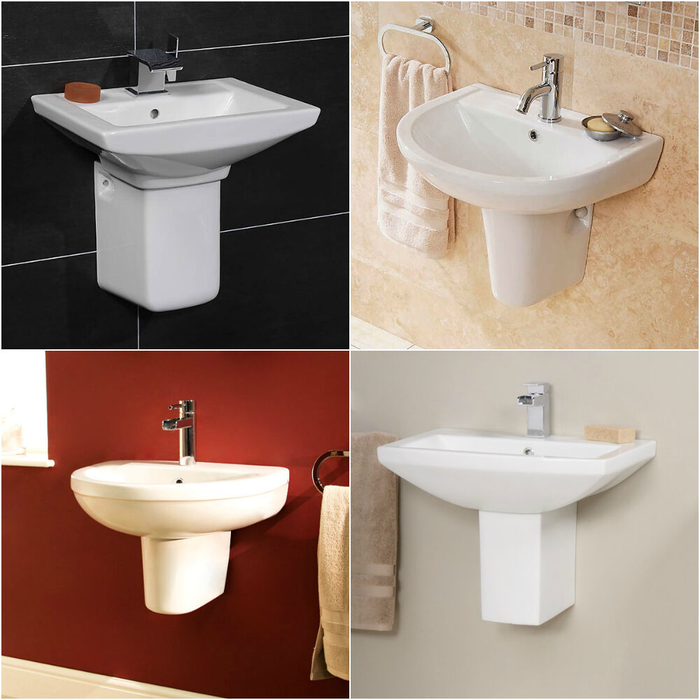 Choice Of Modern Ceramic Wall Mounted Semi Pedestal Basins Bathroom Sinks Ebay