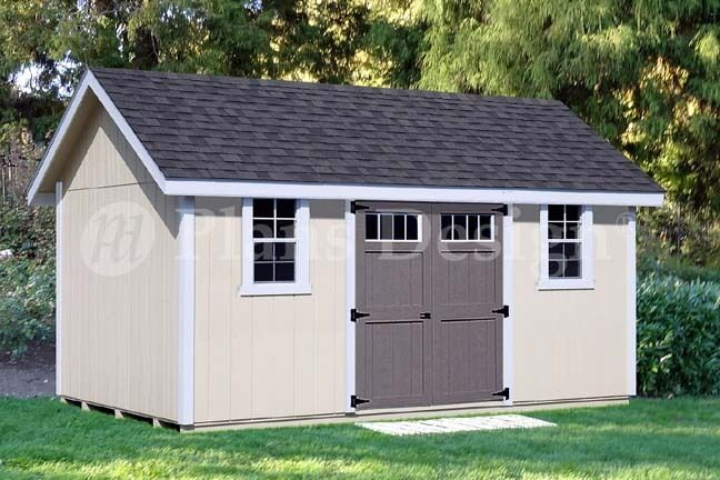 Backyard Storage Shed Plans 12' x 16' Gable Roof #D1216G, Material ...