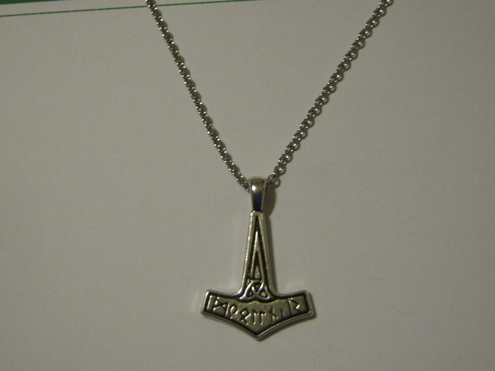 Pewter Thor S Hammer Writing On A Stainless Steel Necklace