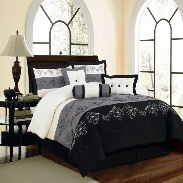7 pc luxury king queen embroidered bed in a bag comforter set black blue ebay. Black Bedroom Furniture Sets. Home Design Ideas