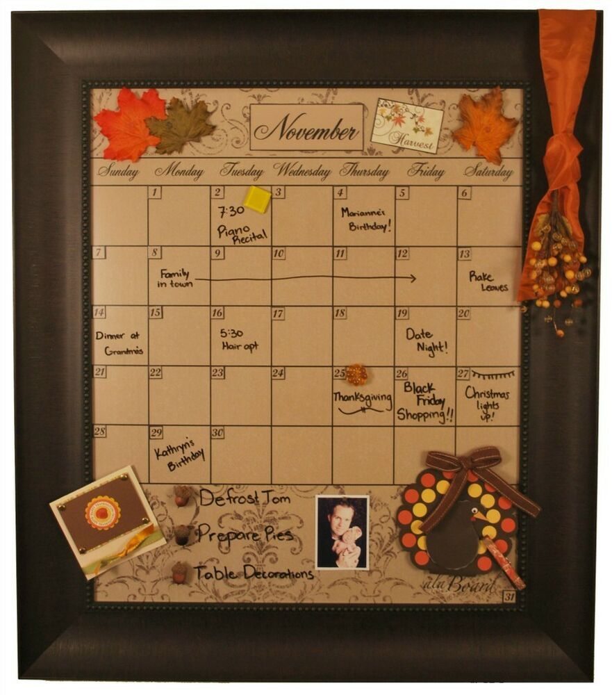 large mocha decorative dry erase calendar board framed