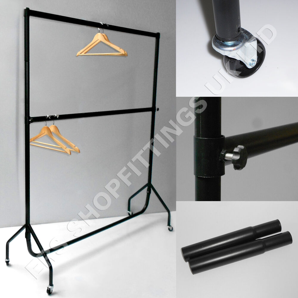 6ft heavy duty double clothes garment rail with extensions poles ebay. Black Bedroom Furniture Sets. Home Design Ideas