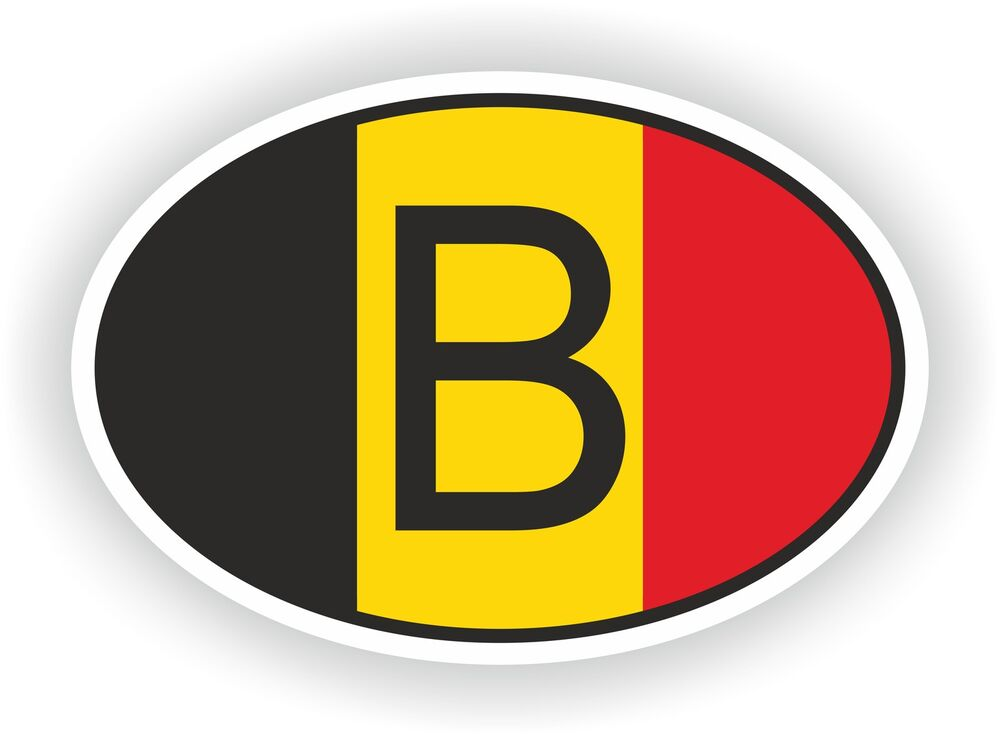 b belgium country code oval with belgian flag sticker. Black Bedroom Furniture Sets. Home Design Ideas