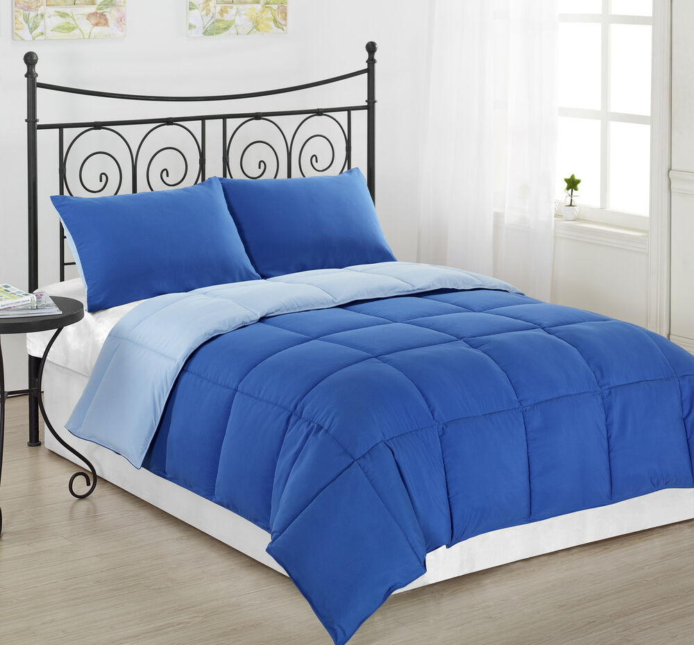 3pc royal light blue reversible down alternative comforter. Black Bedroom Furniture Sets. Home Design Ideas