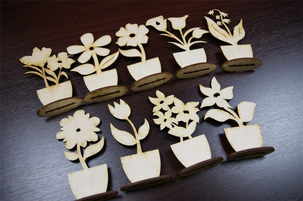 10x fl plain wood wooden stand flowers embelishments for Plain wooden blocks for crafts