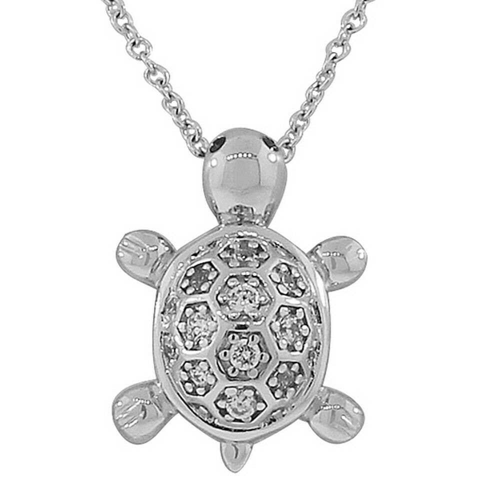 Sterling Silver Turtle Crystals CZ Womens Pendant Necklace ...