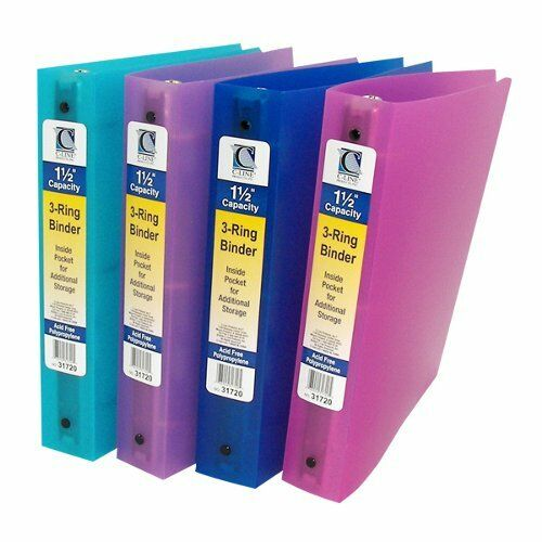 """C-Line Assorted 3-Ring Poly 1 1/2"""" Capacity Binder"""