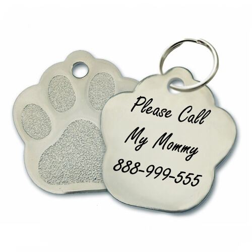 custom personalized engraved stainless steel paw dog tag. Black Bedroom Furniture Sets. Home Design Ideas