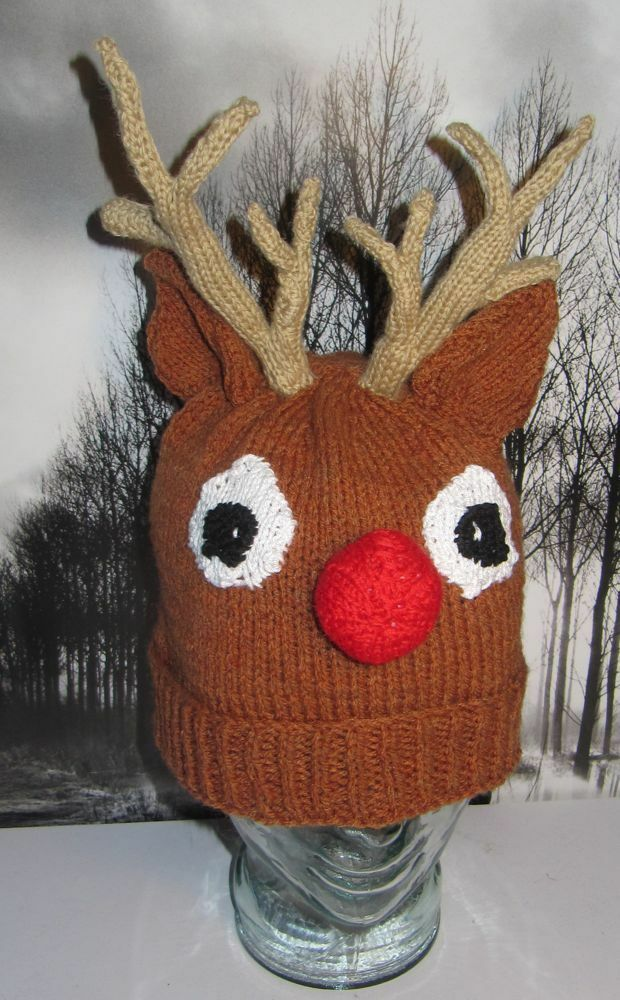 Knitting Pattern For Reindeer Hats For Dogs : PRINTED INSTRUCTIONS-RUDOLPH REINDEER BEANIE ANIMAL HAT ...