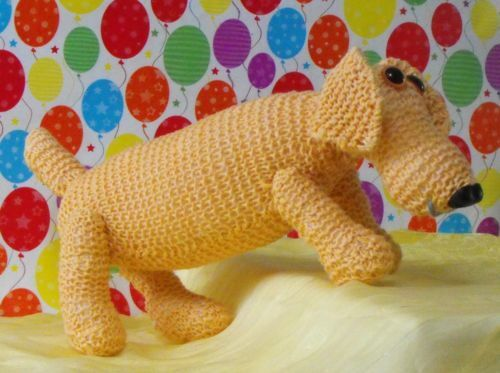Knitting Patterns For Sausage Dogs : PRINTED INSTRUCTIONS-SAMMY SAUSAGE DOG NURSERY TOY ANIMAL KNITTING PATTERN ...