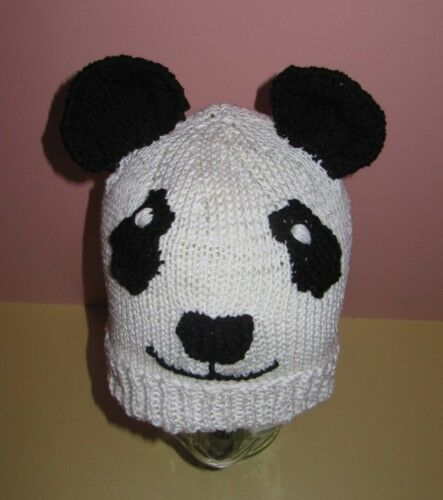 Knitting Patterns Hats Animals : PRINTED KNITTING INSTRUCTIONS-PANDA BEAR BEANIE ANIMAL HAT KNITTING PATTERN ...