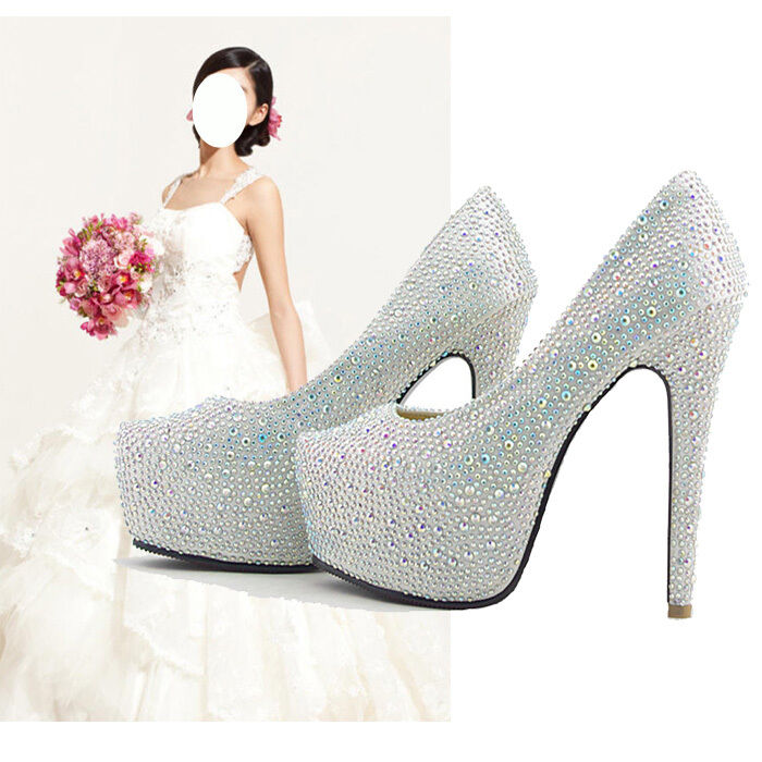 Bridal Shoes Jb: Beautiful Diamonds Super Platform High Heels Prom Party