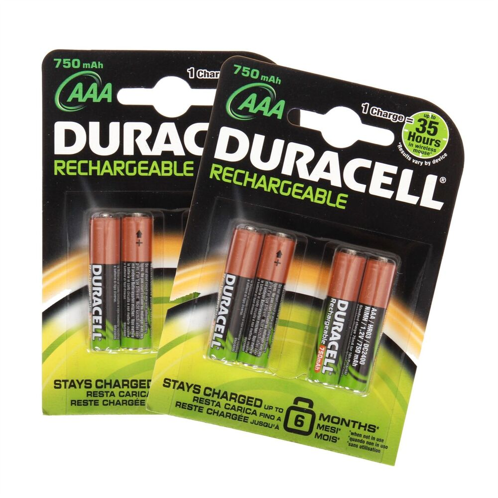 8 duracell aaa 750mah 1 2v rechargeable batteries battery. Black Bedroom Furniture Sets. Home Design Ideas