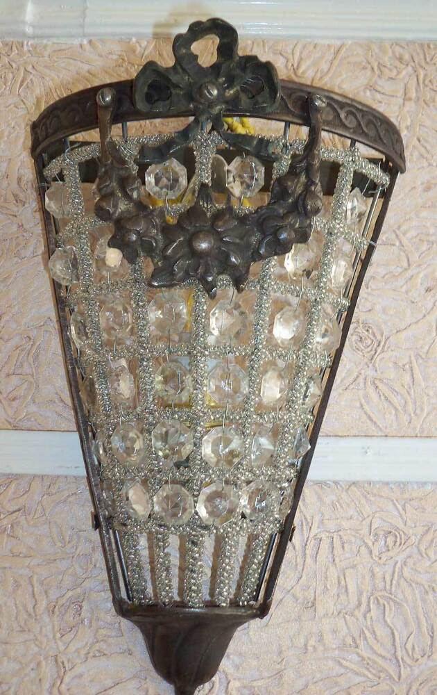 Classic Brass Glass Crystal Beads Wall Sconces Hanging Decor Light Lighting eBay