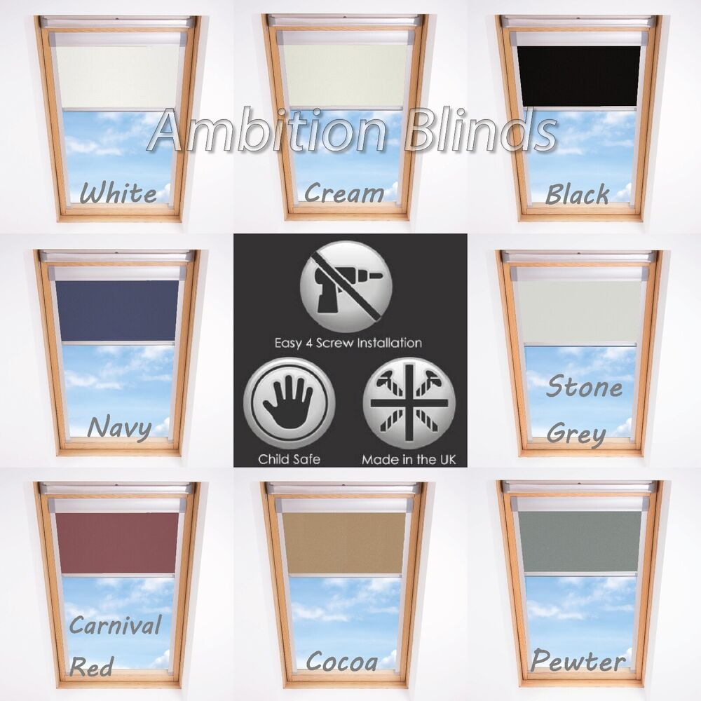 blackout skylight roller blinds for velux roof windows every size and colour ebay. Black Bedroom Furniture Sets. Home Design Ideas