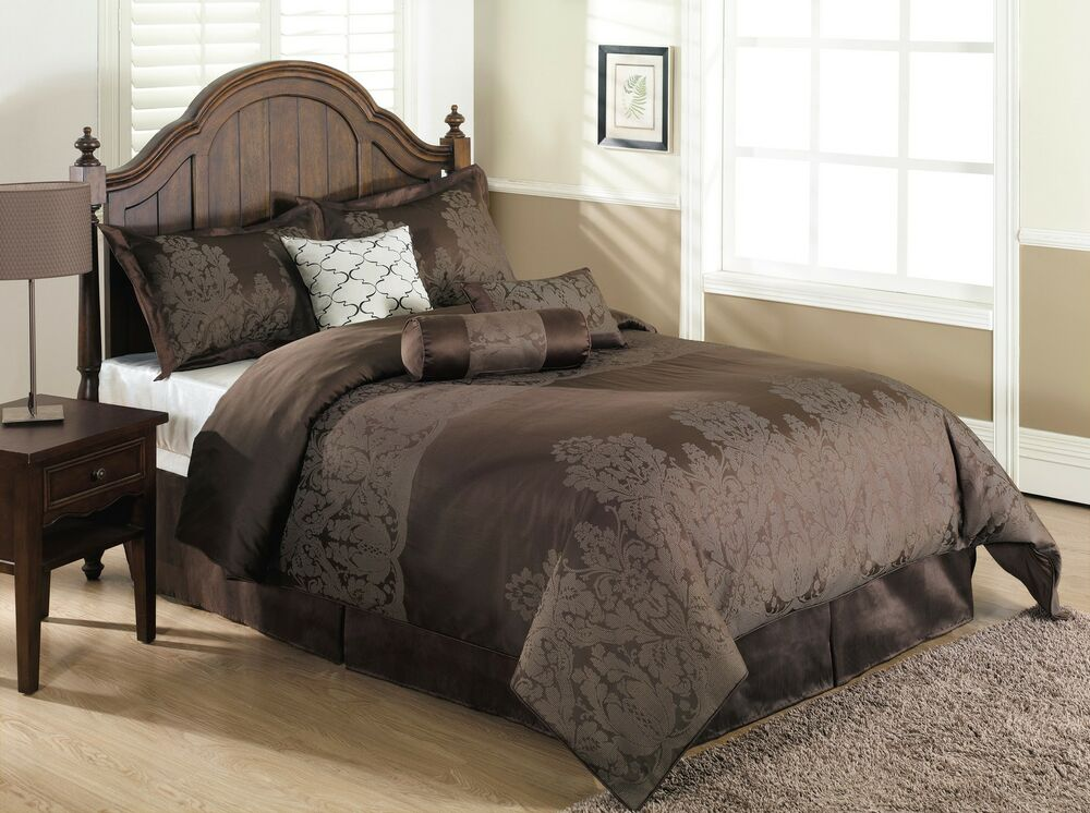 brown bed sets jasper 7pc jacquard comforter set brown floral bed cover 10950