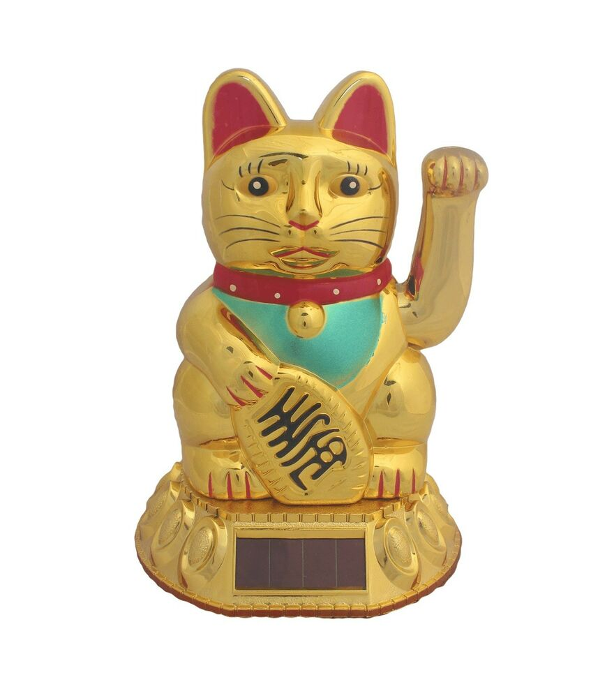 solar gl ckskatze 18cm gold maneki neko winkekatze gl cksbringer feng shui katze ebay. Black Bedroom Furniture Sets. Home Design Ideas
