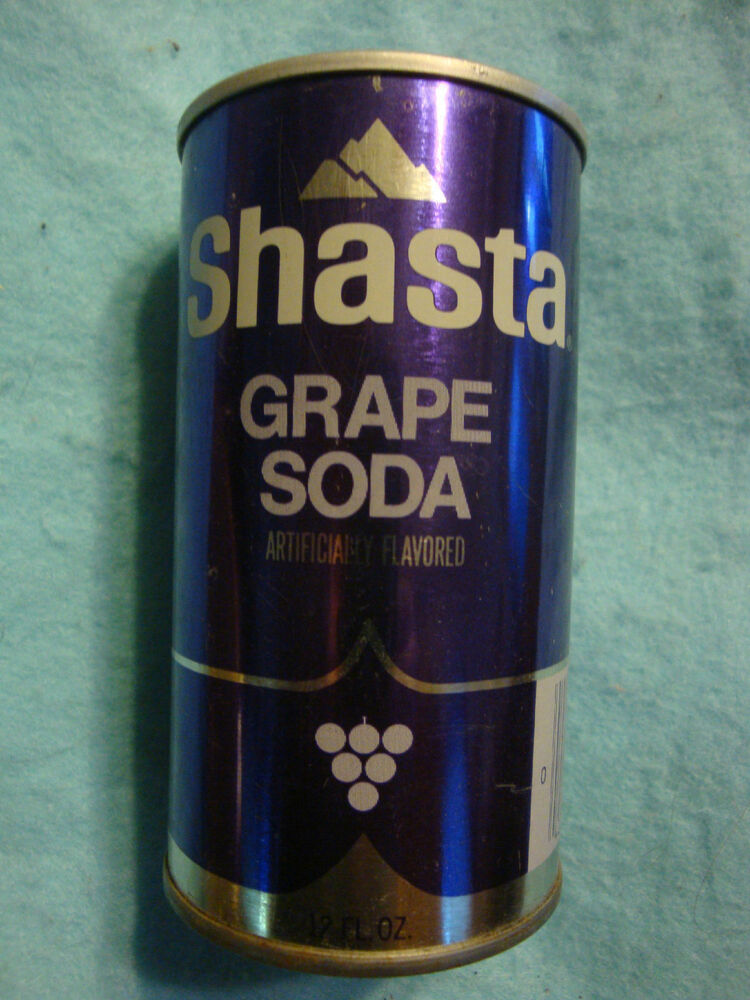 Drink Can From Blank Aluminum Stock Photo: 1970s SHASTA Grape Soda Pop Can ~ PULL TAB UNOPENED