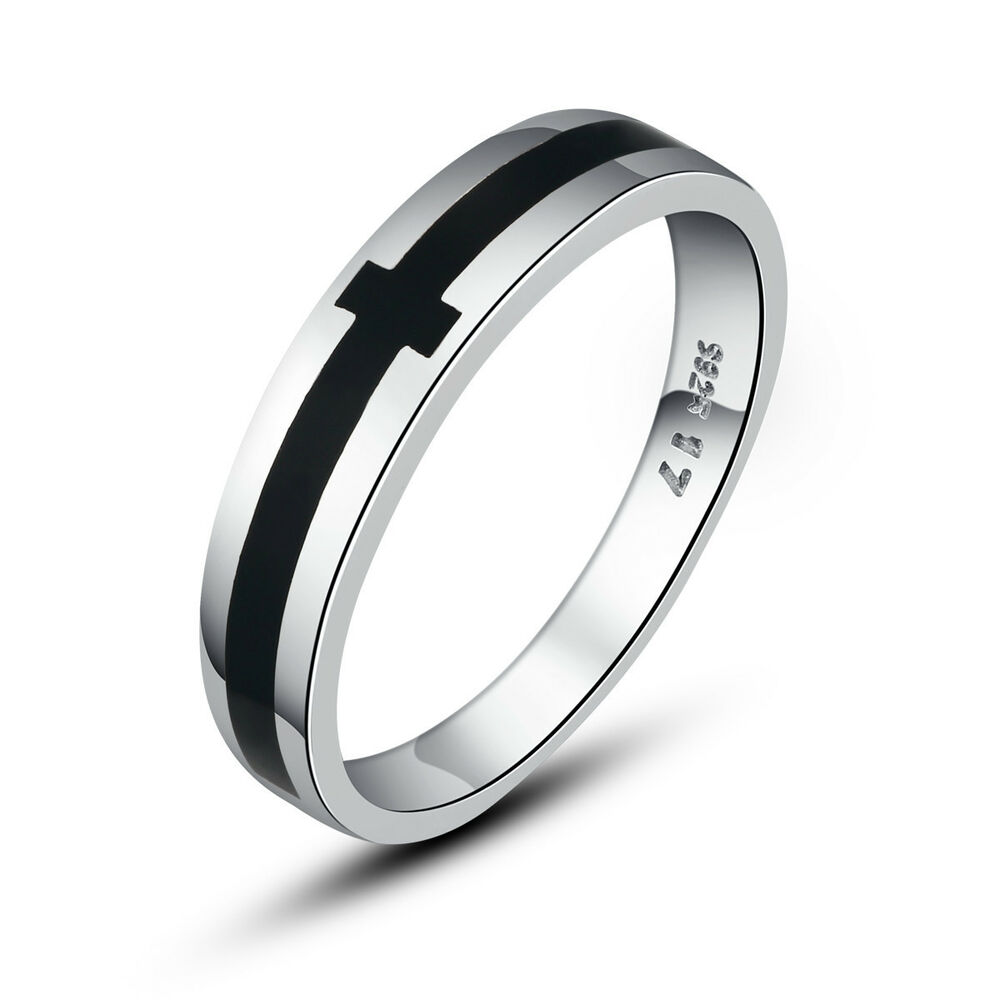 sterling silver 925 silver s ring black cross high