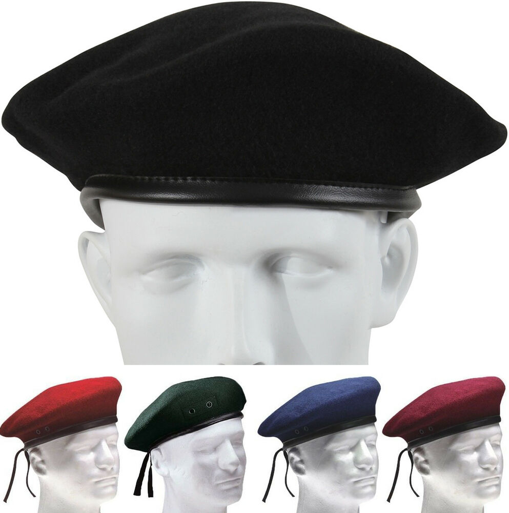 Classic Wool Military Beret - with Eyelets Army Warm Winter Hat  a62d19629