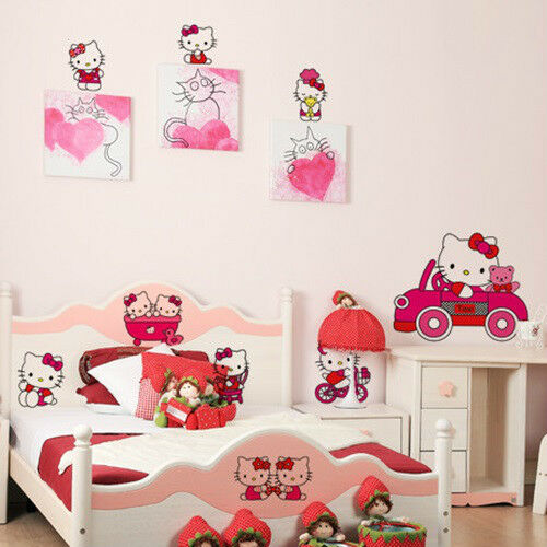 Hello Kitty Pattern Children 39 S Room Removable Wall Sticker