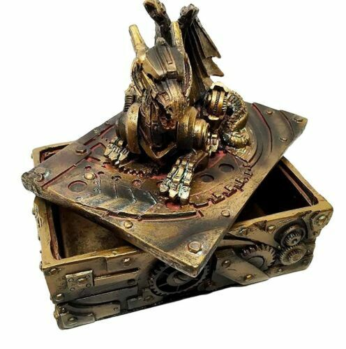 5 Inch Steampunk Dragon Topped Mechanical Box Statue