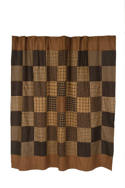 Colfax Shower Curtain Country Black Tan Country Patchwork Homespun Plaid Check Ebay
