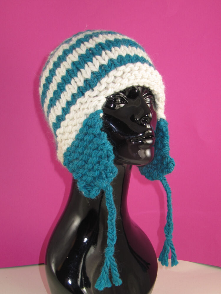 PRINTED KNITTING INSTRUCTIONS- SUPER CHUNKY STRIPE TRAPPER HAT KNITTING PATTE...