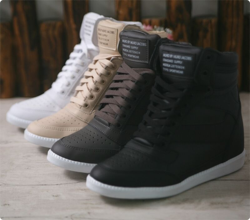 Womens Lace Up Wedge High Top Sneakers Ankle Hidden Heel