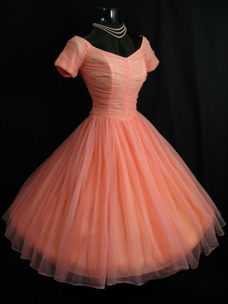 Vintage 1950 S 50s Coral Peach Pink Ruched Chiffon Party