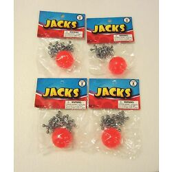 4 SETS OF METAL STEEL JACKS WITH SUPER RED RUBBER BALL GAME CLASSIC TOY KIDS