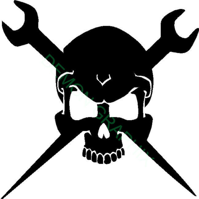 Skull Vinyl Decal Sticker 5x5 Ironworker Rigger Wrenches