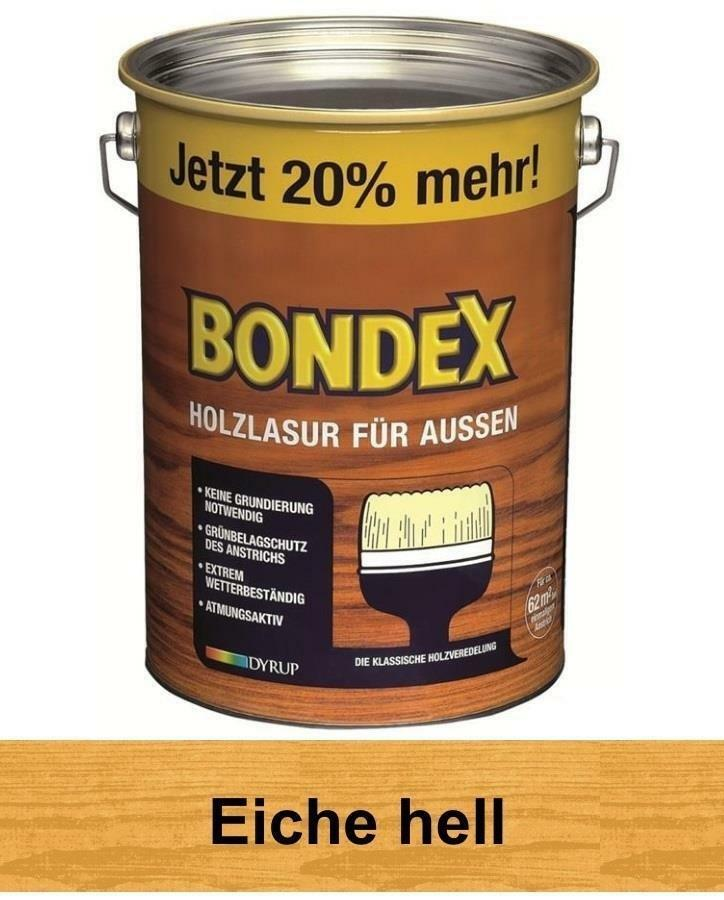 bondex holzlasur f r au en 4 8 l eiche hell 20 mehr neu. Black Bedroom Furniture Sets. Home Design Ideas