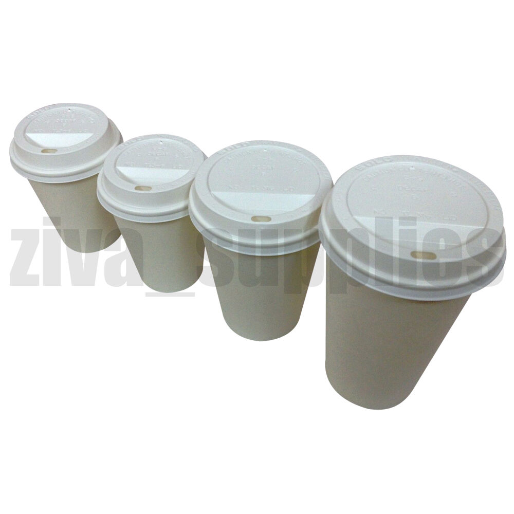 Coffee Cups With Lids : White coffee tea cups sip lids disposable paper oz