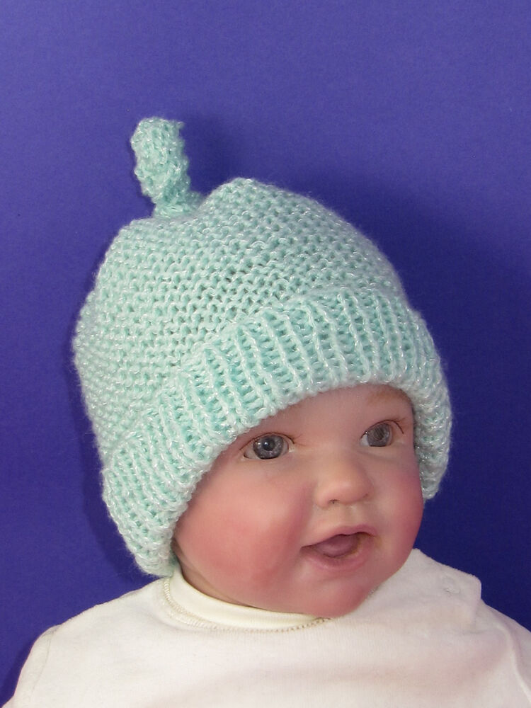 PRINTED KNITTING INSTRUCTIONS-BABY GARTER STITCH TOPKNOT BEANIE KNITTING PATT...