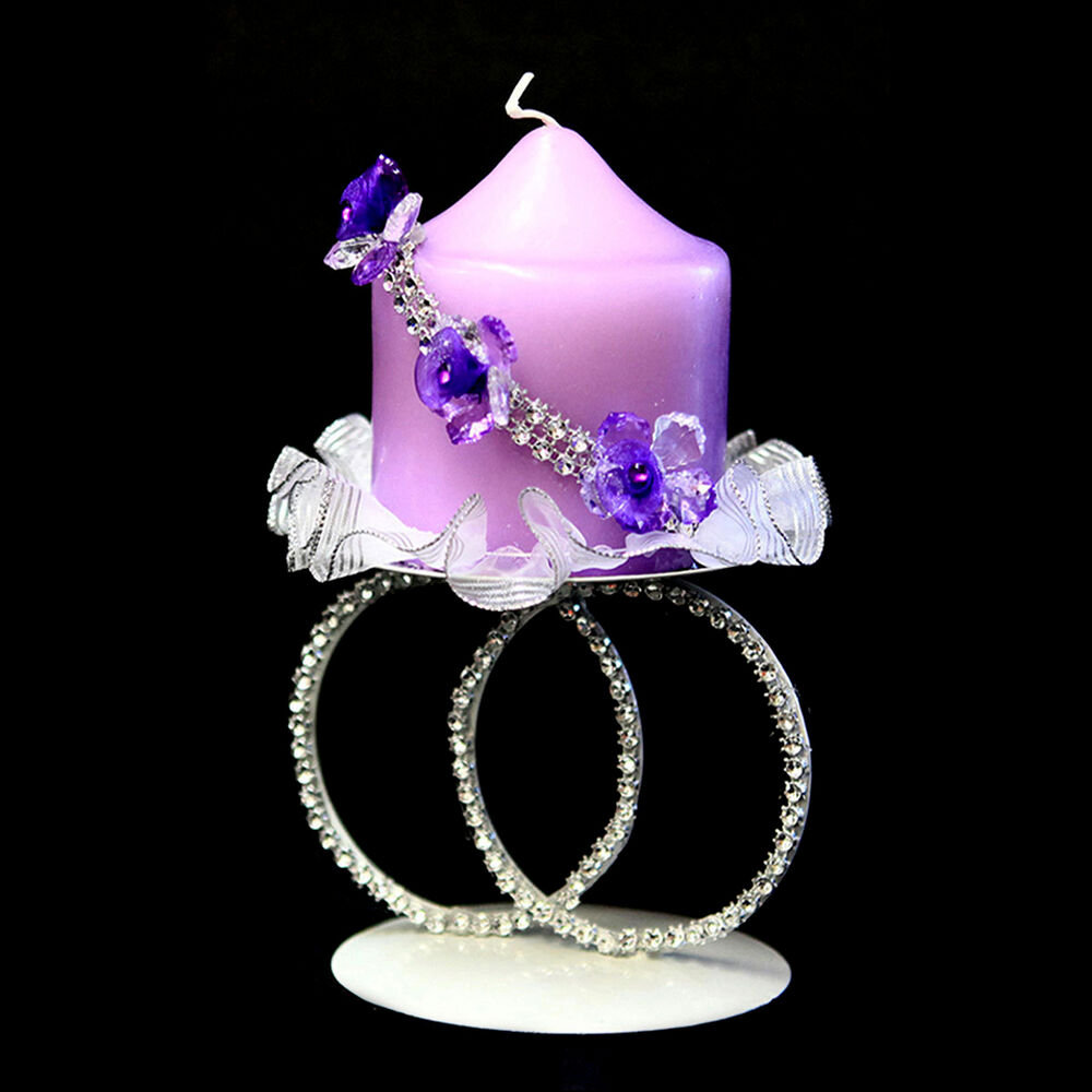 Decorative white metal wired centerpiece candle holder