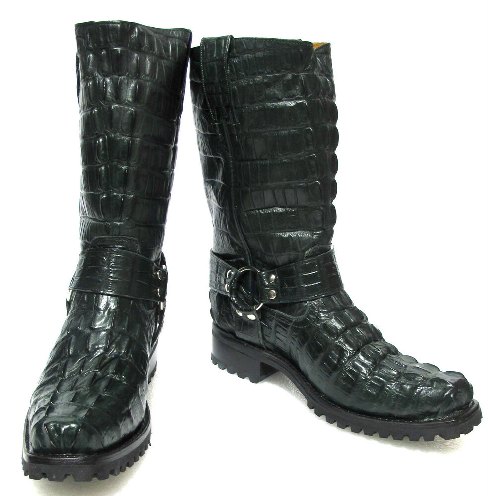 Alligator Tail Leather Western Cowboy Boots Square Green EBay