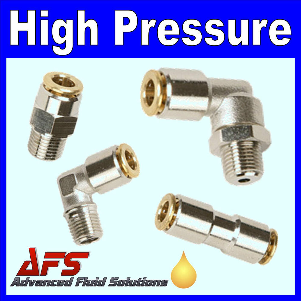 High pressure metal push in fittings for air or central