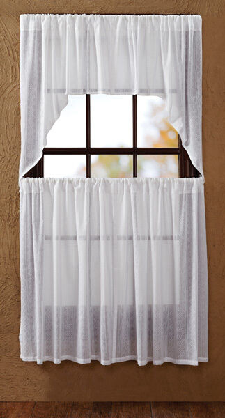 sheer dobby weave tier set curtains unlined white gauzy. Black Bedroom Furniture Sets. Home Design Ideas