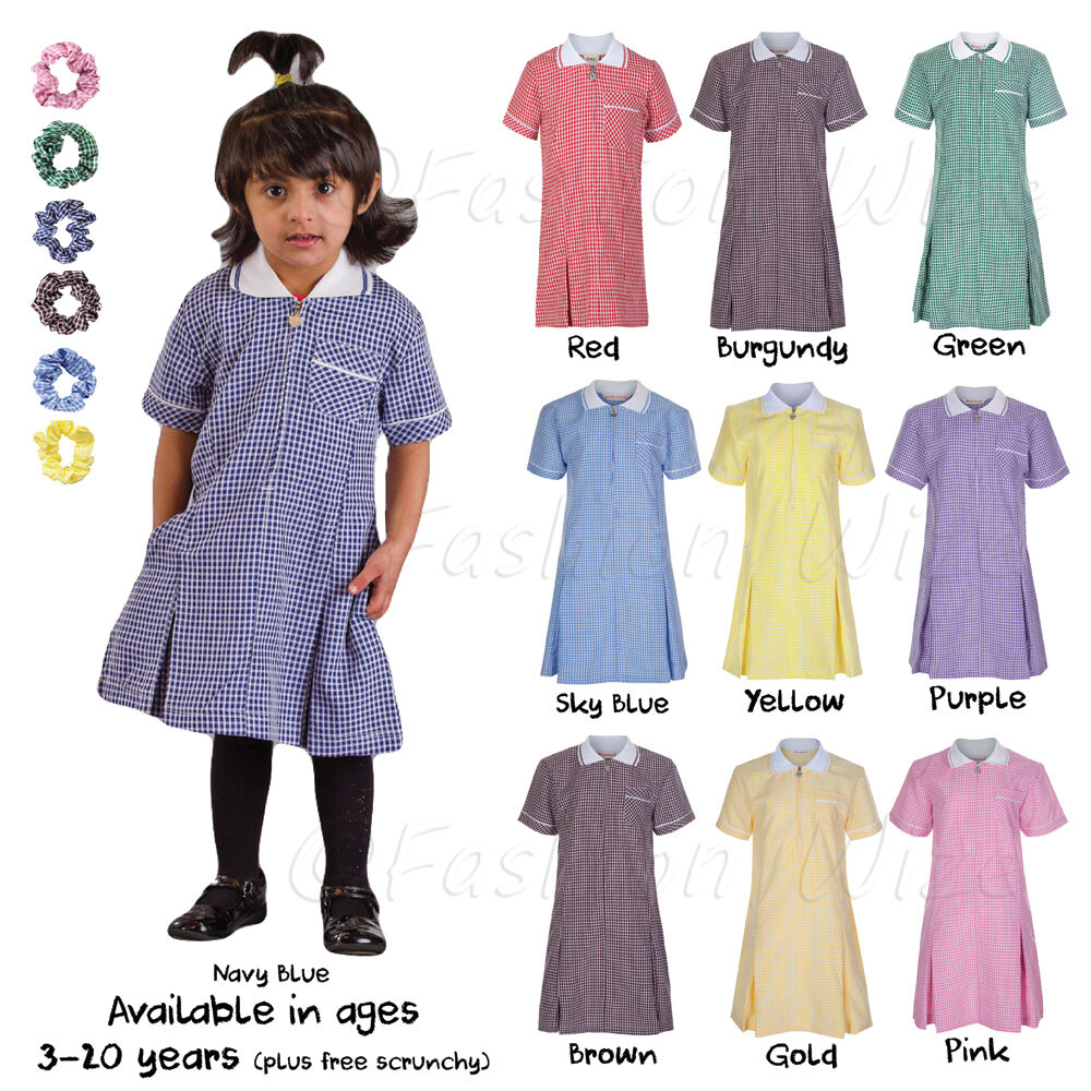 Girls School Summer Gingham Dress Age 4 5 6 7 8 9 10 11 12 13 14 ...